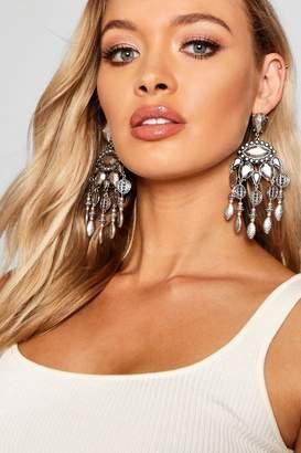 boohoo Statement Boho Chandelier Earrings