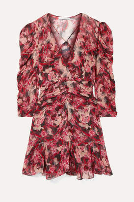 IRO Wick Wrap-effect Ruched Floral-print Crepon Mini Dress - Red