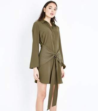 New Look Khaki Tie Front Chiffon Shirt Dress
