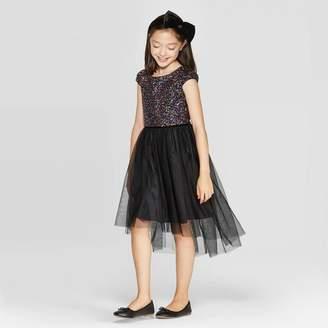 Cat & Jack Girls' Sequin Dress - Cat & JackTM Black