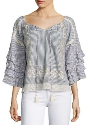 Love Sam Embroidered Off-The-Shoulder Ruffle Sleeve Blouse $255 thestylecure.com