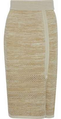 Dagmar House Of Salla Metallic Pointelle-Trimmed Knitted Skirt