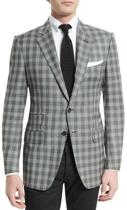 TOM FORD O'Connor Base Prince of Wales Sport Jacket, Black/White $3,680 thestylecure.com