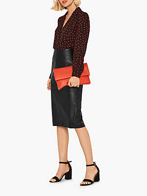 Oasis Faux Leather Skirt, Black
