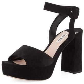 Miu Miu Suede Block-Heel Ankle-Wrap Sandal