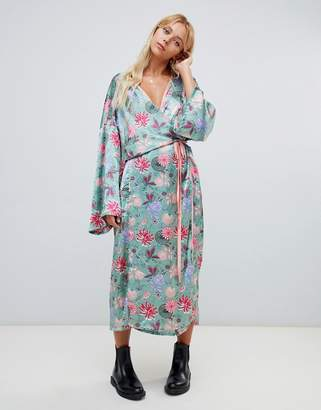 Glamorous floral satin maxi dress