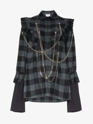 Vetements tartan chain embellished ruffle mini dress