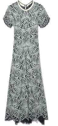 Proenza Schouler Short Sleeve Mock Turtleneck Lace Dress in Spearmint