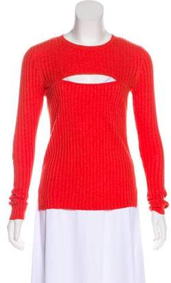 Frame Rib Knit Cutout Sweater