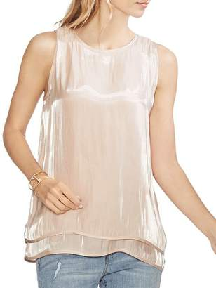 Vince Camuto Sleeveless Iridescent Double-Layer Top