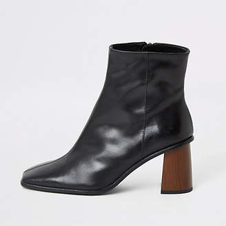 River Island Black leather platform wood heel boots