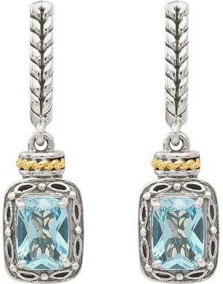 Sterling & 14K Rectangle Gemstone Dangle Post Earrings