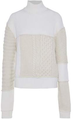 McQ Paneled Wool And Cashmere-Blend Sweater