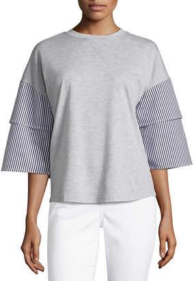 Liz Claiborne 3/4 Tiered Sleeve Crew Neck T-Shirt-Womens