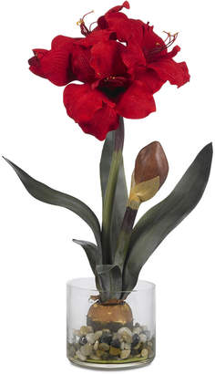 Nearly Natural Artificial Amaryllis in Round Vase