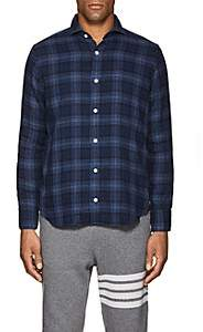 Eleventy Men's Plaid Cotton Shirt - Navy