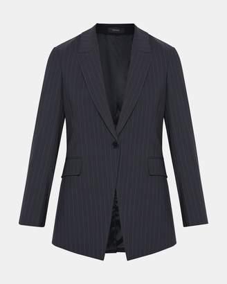 Theory Good Wool Pinstripe Long Blazer