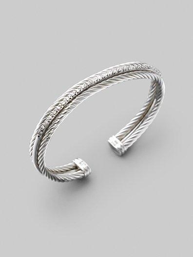 David Yurman Diamond, Sterling Silver & 14K White Gold Bracelet