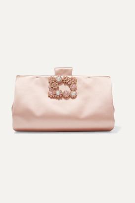 Roger Vivier Crystal-embellished Satin Clutch - Pink