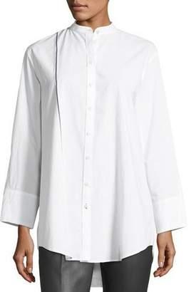 Joseph Lenno Button-Front Cotton Shirt w/ Selvedge Stripe