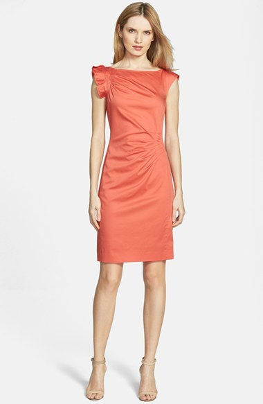 HUGO BOSS BOSS 'Daperla' Pleated Stretch Cotton Sheath Dress