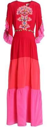 Peter Pilotto Appliqued Color-block Silk Crepe De Chine Maxi Dress