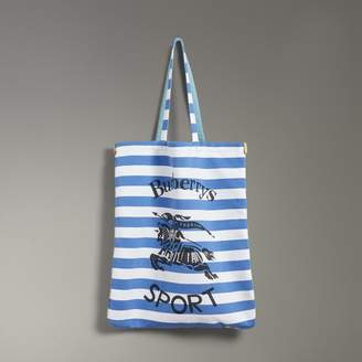 Burberry Large Archive Logo Striped Jersey Shopper, Blue