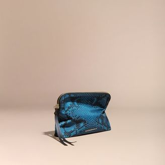 Burberry Large Zip-top Python-print Technical Nylon Pouch $285 thestylecure.com