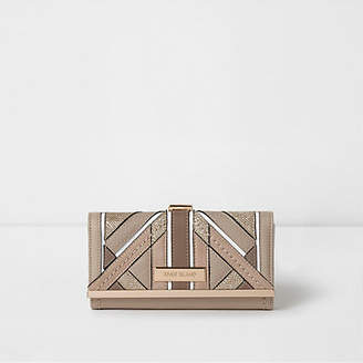 River Island Womens Beige textured glitter clip top purse