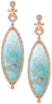 LeVian Le Vian Turquoise Aquaprase (38 x 13mm) & White Topaz (1-3/8 ct. t.w.) Drop Earrings in 14k Rose Gold