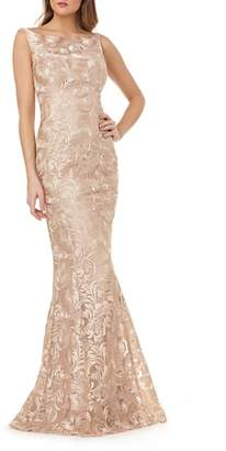 Kay Unger Sleeveless Metallic Embroidery Mermaid Gown