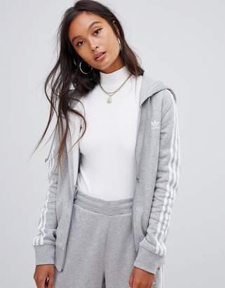 adidas Three Stripe Zip Thru Hoodie In Gray