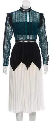 Self-Portrait Guipure Lace Knee-Length Dress