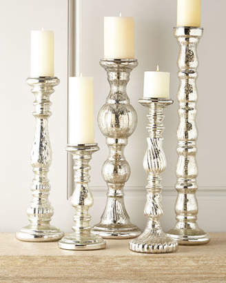 Five Mercury-Glass Candleholders