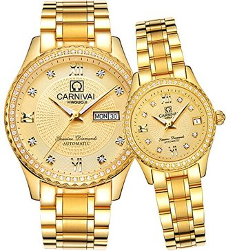 Carnival カーニバルCouple Watches Men And Women自動機械腕時計Romantic For HerまたはHisのセット2 All Gold