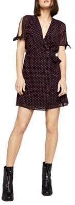 BCBGeneration Sleeve-Tie Dot Surplice Dress