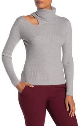 Love Token Shoulder Cutout Long Sleeve Turtleneck Sweater