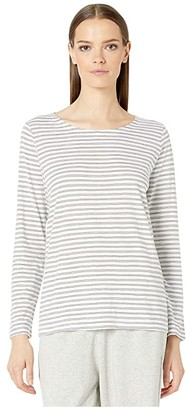 Eileen Fisher Organic Cotton Slub Stripe Jewel Neck Box-Top