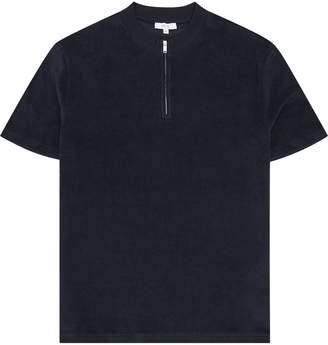 Reiss Dinnington - Zip Neck Short Sleeved Top in Navy
