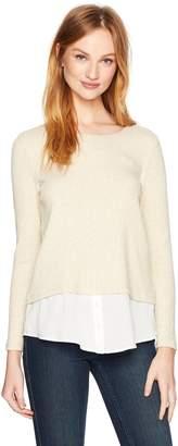 Calvin Klein Women's Ribbed Lurex 2fer Top