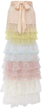 Rodarte Tiered Sequined Tulle Skirt