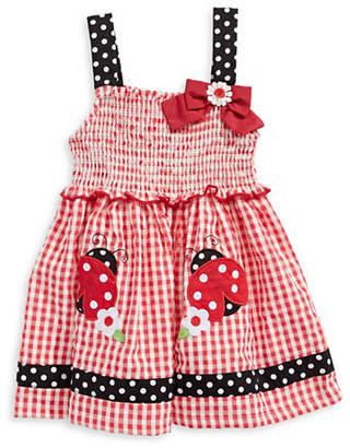 SAMARA Ladybug Applique Gingham Dress