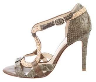 Alexandre Birman Python Ankle Strap Sandals