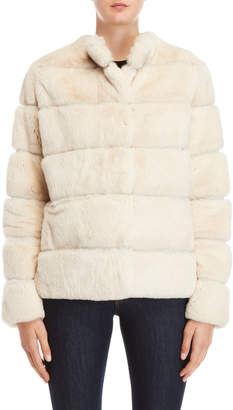 Yves Salomon Off White Quilted Real Fur Coat