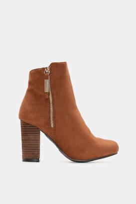 Ardene Faux Suede Zipper Ankle Boots