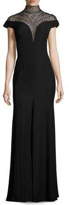 Tadashi Shoji Sleeveless Embellished Crepe Gown, Black $588 thestylecure.com