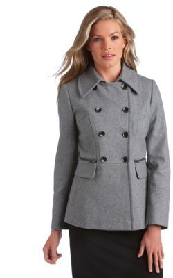 DKNY Zip Pocket Pea Coat