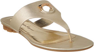 Salvatore Ferragamo Gancini Leather Thong Sandal