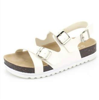 Let's See Style White Cork Sandal