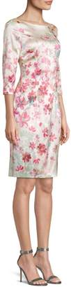 St. John Brush-Stroke Floral Stretch Silk Sheath Dress
